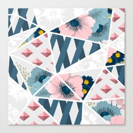 Retro Floral Pattern With Geometric Elements Canvas Print