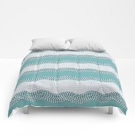 Wavy River in Teal IV Comforters