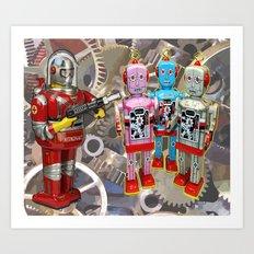 Astroman vs. The Robots Art Print
