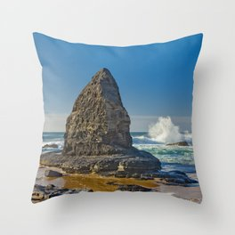 A rock formation on the Costa Vicentina, Portugal Throw Pillow