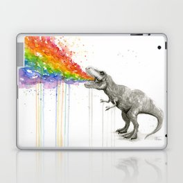 T-Rex Dinosaur Rainbow Puke Taste the Rainbow Watercolor Laptop & iPad Skin