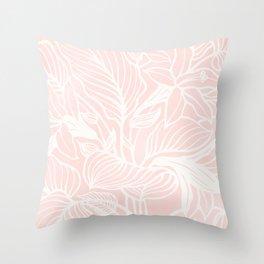 Pink Coral Floral Garden Throw Pillow
