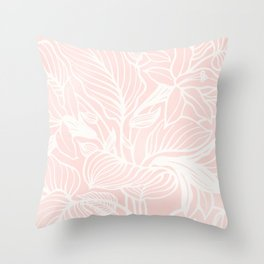 Blush Pink Coral Floral Garden Spring Summer Throw Pillow