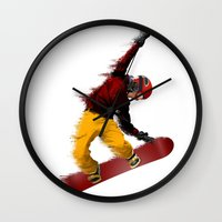 snowboarding Wall Clocks featuring Snowboarding by Boehm Graphics