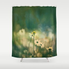He Loves Me, Daisies Wildflowers Shower Curtain
