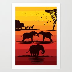 Elephant evening Art Print
