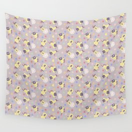 Raincoat Cat Pattern - Purple Wall Tapestry