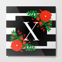 X - Monogram Black and White with Red Flowers Metal Print