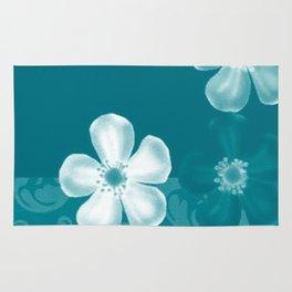 Retro 70s Flowers Turquoise Rug