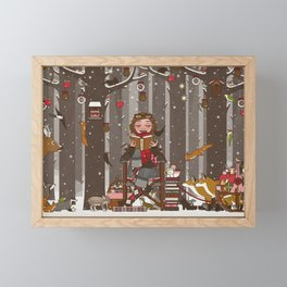 Lily reads for the Forest Animals on Christmas Eve Framed Mini Art Print