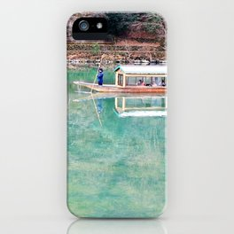 Riding Around Arashiyama, Boats and Trees Reflected in the Canals iPhone Case