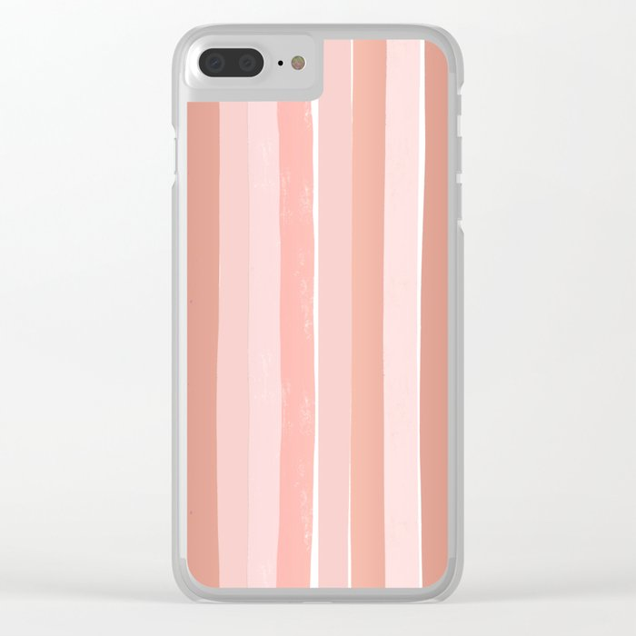 Striped minimal abstract painting modern color pinks metallics decor and art Clear iPhone Case
