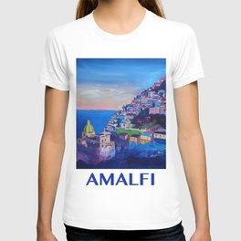 Retro Vintage Style Travel Poster Amazing Amalfi Coast At Sunset T-shirt