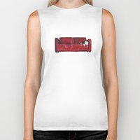 sofa Biker Tanks featuring cat in a red sofa  by memories warehouse by @aikogg