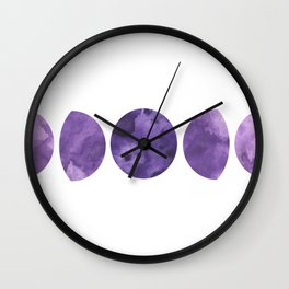 Lunar Phases in Violet Wall Clock