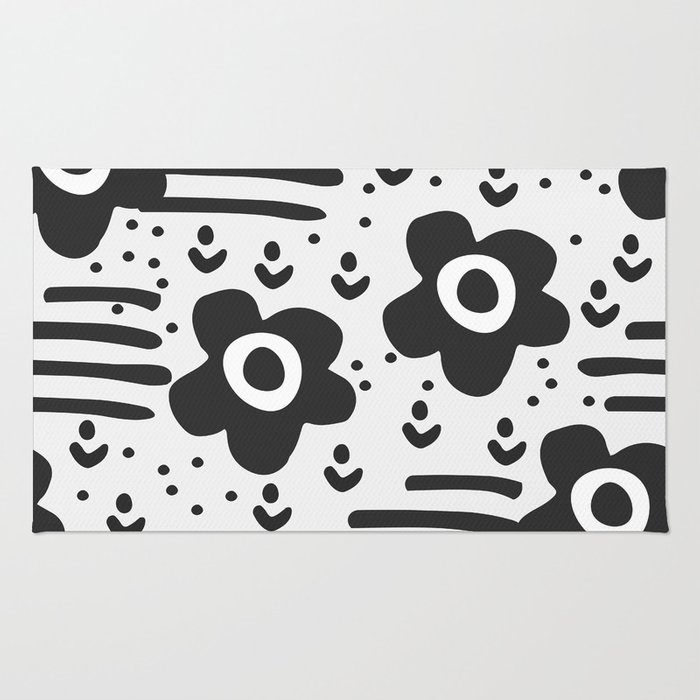 Abstract with flowers Rug