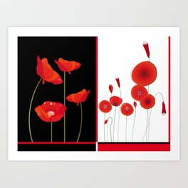 Flaming Poppies Art Print