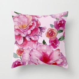 Pink on Pink Spring Roses Throw Pillow