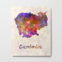 Cambodia in watercolor Metal Print