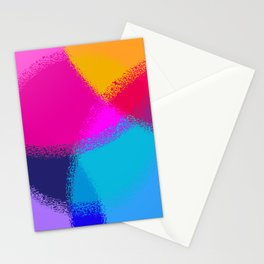 Bright and Colorful Chalk Pastel Circles Blue Pink Cyan Purple Stationery Cards
