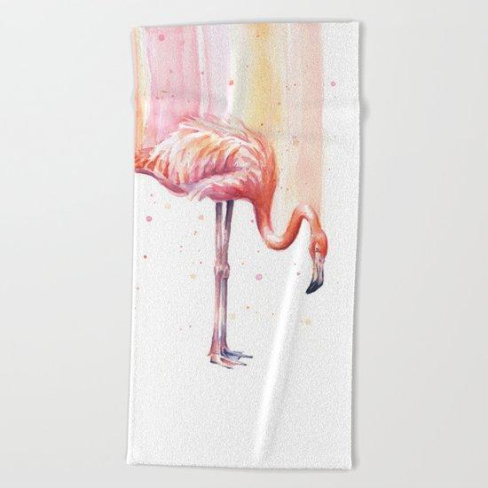 Pink Flamingo Watercolor Bird Animals Whimsical Animal Beach Towel