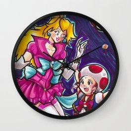 Sailor Peach and Chibi Toad Wall Clock