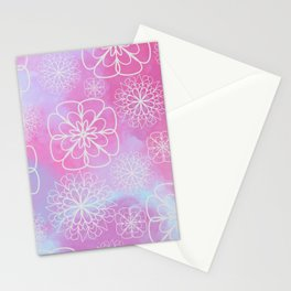 Modern pink lavender watercolor geometrical floral Stationery Cards