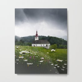 Church in a Meadow Scenic Landscape Metal Print