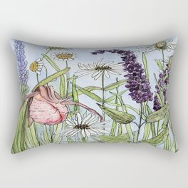 Lady Slipper Orchid Woodland Wildflower Watercolor Rectangular Pillow