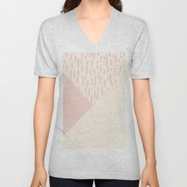 Modern geometrical ivory pink color block paint brushstrokes Unisex V-Neck