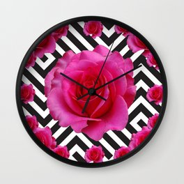 CONTEMPORARY  PINK ROSES B&W ABSTRACT Wall Clock