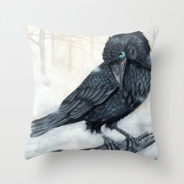 El ve a través del cuervo y controla la niebla Throw Pillow