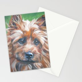 beautiful Australian Terrier dog portrait from an original painting by L.A.Shepard Stationery Cards