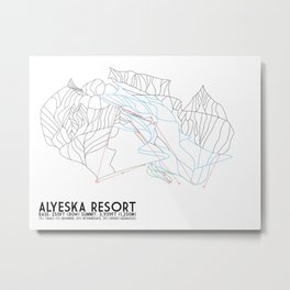 Alyeska Resort, AK - Minimalist Trail Maps Metal Print