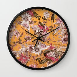 Passion Flower Floral Pattern on Orange Wall Clock