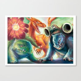 Kanto Starters Canvas Print