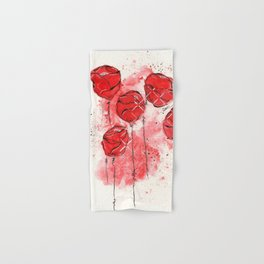 Crimson and Cream Splotch Floral Hand & Bath Towel