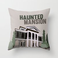 haunted mansion Throw Pillows featuring new Orleans square.. haunted mansion by studiomarshallarts