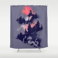 sunset Shower Curtains featuring Samurai's life by Picomodi