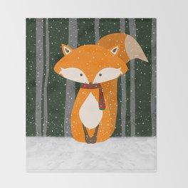 Fox Wintery Holiday Design Throw Blanket