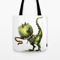 yoshi Tote Bags featuring Evil Yoshi by Danilo Fiocco