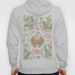 Pastel coral pink green butterfly floral polka dots Hoody