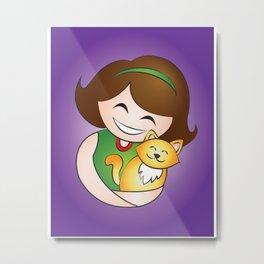 Girl love Kitten Pussy Cute Cat Hug Metal Print