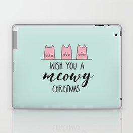 Meowy Christmas Mint Laptop & iPad Skin