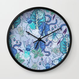 Frozen bugs in the garden Wall Clock