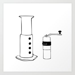 Coffee Tools: Aeropress & Grinder Art Print