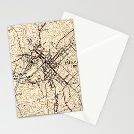 Vintage Map of Blacksburg Virginia (1932) Stationery Cards