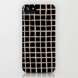 Strokes Grid - Nude on Black iPhone Case