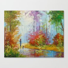 A walk in the autumn woods Canvas Print