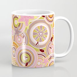 Seventies Bohemian Rock Inspired Geometric Circles and Stars in Pink and Green Coffee Mug